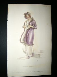 Ackermann 1811 Hand Col Regency Fashion Print. Walking Dress 5-25